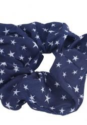 Marine blå scrunchie med hvide stjerner