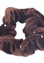Brun velour scrunchie med simili sten