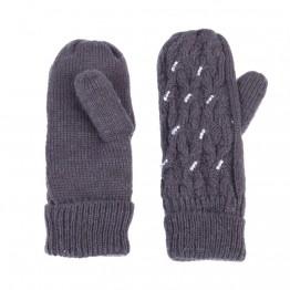 grå strik handske med perler