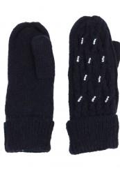 sort strik handske med foer