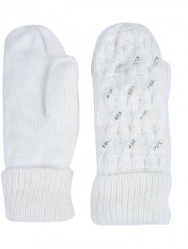 off white strik handske med lækkert foer