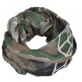 Tørklæde i armygrøn med peace tegn.