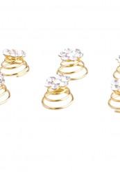 hår spiral i guld med simili blomst-