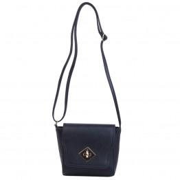 sort skulder taske med guld lås