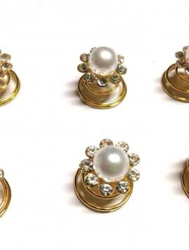 Spiraler til håret i guld look med perle og simili sten