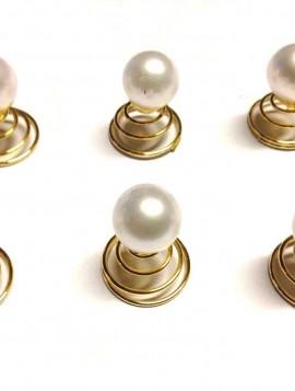 Spiraler til håret i guld look med perle