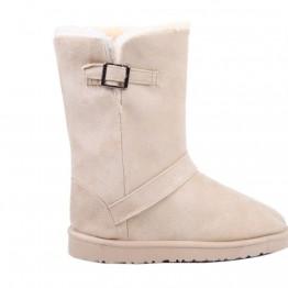 Image of   Beige bamsestøvle med spænde - Sko størrelse - 36
