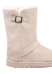 Beige bamsestøvle med spænde