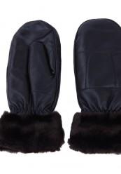 lækker sort skind handske med blødt sort foer