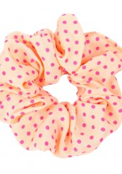 orange scrunchie med pink prikker