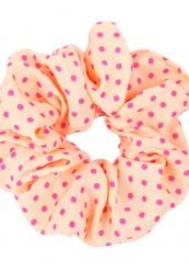 orange scrunchie med pink prikker