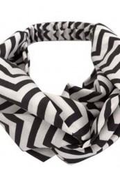 sort/hvid tyndt hårbånd med knude