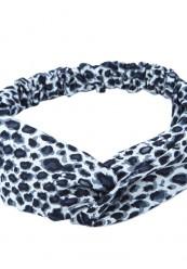Hårbånd i sort/hvid leopard med knude