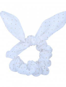 hvid chiffon scrunchie med sløjfe
