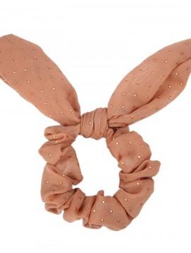 brun chiffon scrunchie med sløjfe