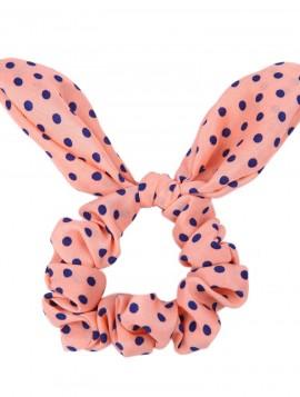 coral scrunchie med sløjfe