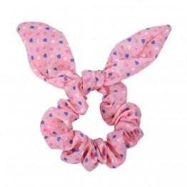 Image of   lyserød scrunchie med sløjfe.