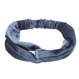 Image of   Grå velour hårbånd med knude
