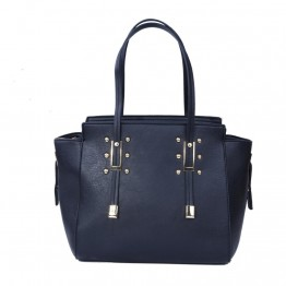 Håndtaske i sort pu med spænder i guldlook.