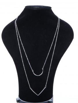 Halskæde med dobbelt vedhæng i sølvlook