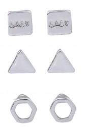 3 pak ørestikkere i sølvlook