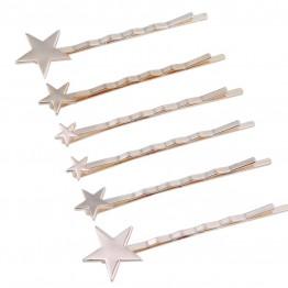 Image of   6 spænder i guldlook med stjerner.