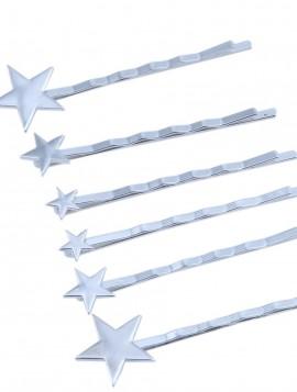 6 spænder med stjerne motiv i sølvlook