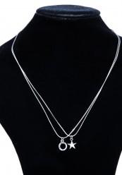 Dobbelt halskæde med vedhæng i sølvlok