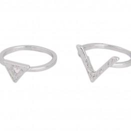 Image of   2 stk ringe i sølvlook. - Størrelse (ring) - 18