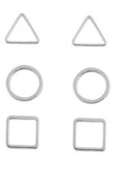 Sæt med 3 par øreringe i sølvlook