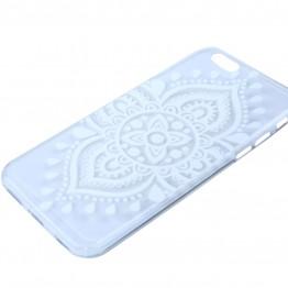 Gennemsigtig cover med hvidt print til iphone 6.