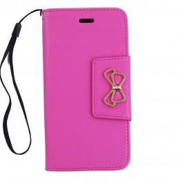 cover i pink pu med sløjfe i guldlook.