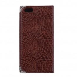 Cover i brun snakelook til iphone 6 med plads til kort.