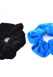 2 stk velour scrunchies i sort/ cobolt blå.