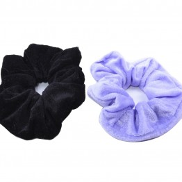 Image of   2 stk velour scrunchie i sort/ lyse lilla.