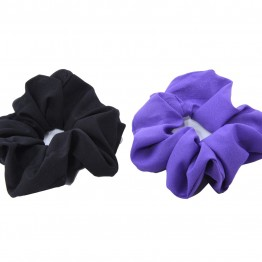 Image of   2 stk Scrunchie i sort/ lilla