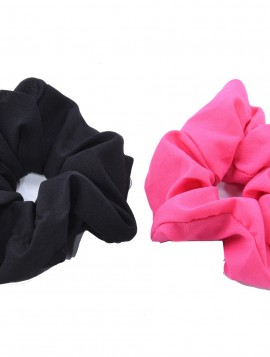 2 stk Scrunchie i sort/ pink.