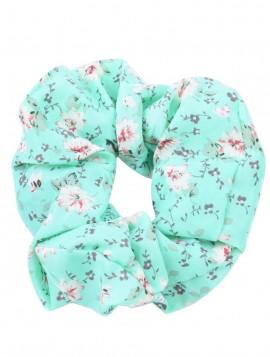 scrunchie i mintgrøn med blomster motiv.