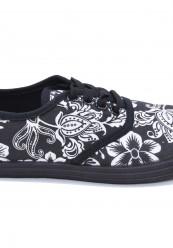 Gårdsanger sko i sort med hvid print.