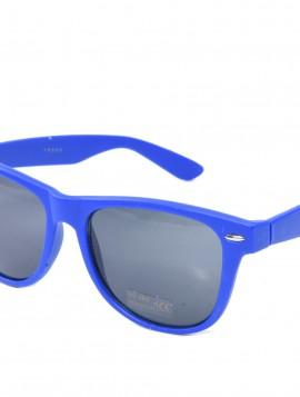 Blå solbrille med mørkt glas.