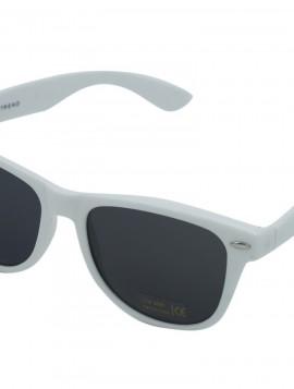 Hvid solbrille med halv mørk glas.