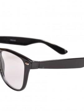 Brille i sort med klart glas.