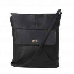 Skulder taske med lomme på front i sort pu.