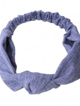 Hårbånd i blå/hvid/grå meteret med knude.