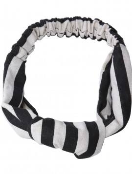Hårbånd i stribet sort/hvid med knude.