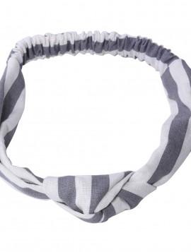 Hårbånd i stribet grå/offwhite med knude.