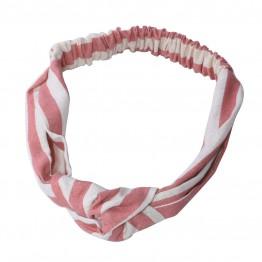Hårbånd i stribet rosa/offwhite med knude.