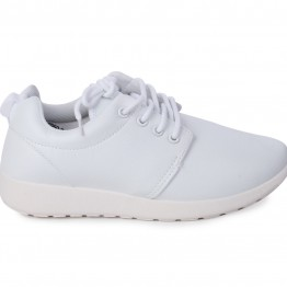 Sneakers i hvid pu.
