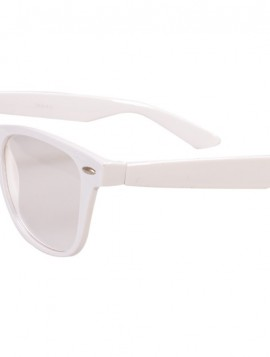 Brille i hvid med klart glas.