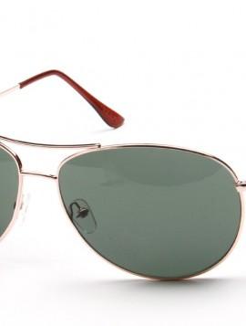 solbrille med guld stel og grønlige glas.